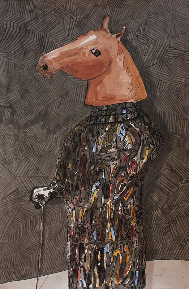 Colbert Mashile   Boxer in Fine Garb II   2014   Watercolour on Paper   121 x 80 cm
