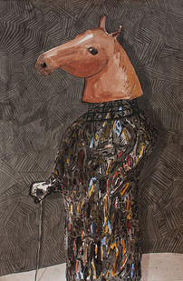 Colbert Mashile | Boxer in Fine Garb II | 2014 | Watercolour on Paper | 121 x 80 cm