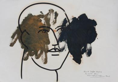 Christo Coetzee   Finestrat, Spain – Ochre and Blush Hoffman Head   Mixed Media   46 x 64 cm