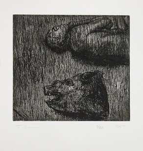 Johann Louw | Figuur/Varkkap (Sander Kleur) | 2017 | Etching | 35 x 35.5 cm | Edition of 20