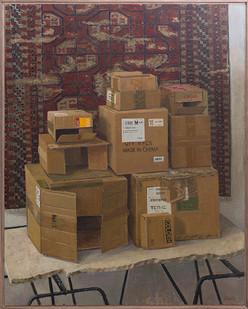 Simon Stone | Boxes with Studio Carpet | 2018 | Oil on Board | 117 x 93 cm