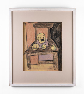Charles Gassner   Chair   n.d.   Chalk Pastel and Ballpoint Pen   41.5 x 34 cm