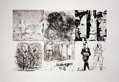 Collaboration between William Kentridge, Colbert Mashile, Dianne Victor, Deborah Bell, David Koloane, Pat Matloa   Etching   59 x 89 cm