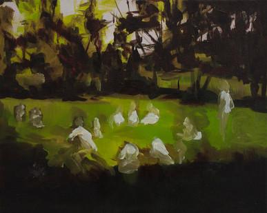 Kate Gottgens | The Gathering | 2015 | Oil on Canvas | 40.5 x 50.5 cm