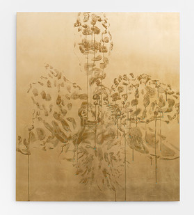 Pierre Vermeulen | Orchid Study in Sweat nr. 6 | 2017 | Gold Leaf Imitate on Aluminium, Sweat | 140 x 120 cm