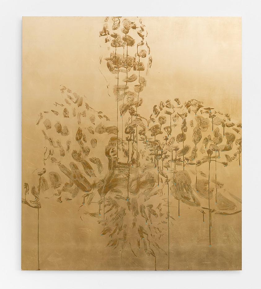 Pierre Vermeulen | Orchid Study in Sweat nr. 6 | 2017 | Gold Leaf Imitate on Aluminium, Sweat | 140 x 120 cm