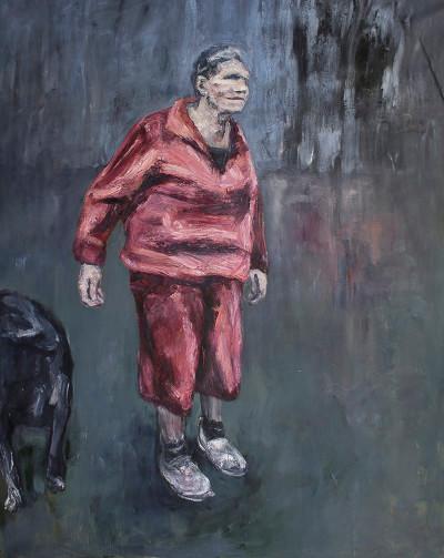 Johann Louw | Wandelend, met Hond II | 2015 | Oil on Canvas | 256 x 197 cm