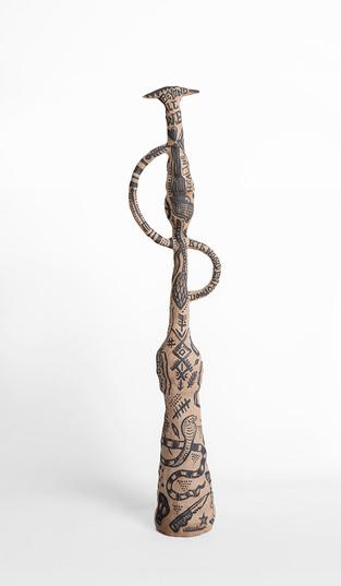 Karlien van Rooyen | Chappie Shark | 2020 | Buff Stoneware and Manganese | 68.5 x 17 x 15 cm