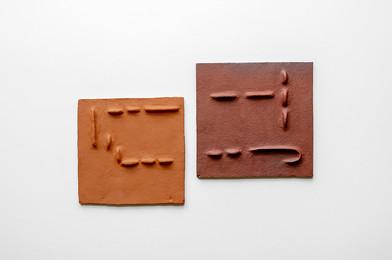 Pyda Nyariri   Pidgin Tile Set 3   2019   Fired Earthenware Clay   Dimensions Variable