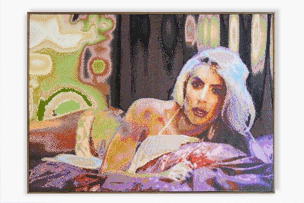 Frances Goodman | Bachelorette | 2018 | Hand-Stitched Sequins on Linen | 118 x 162 cm