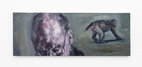 Johann Louw | Gebrilde man, en aap | 2020 | Oil on Board | 46 x 122 cm