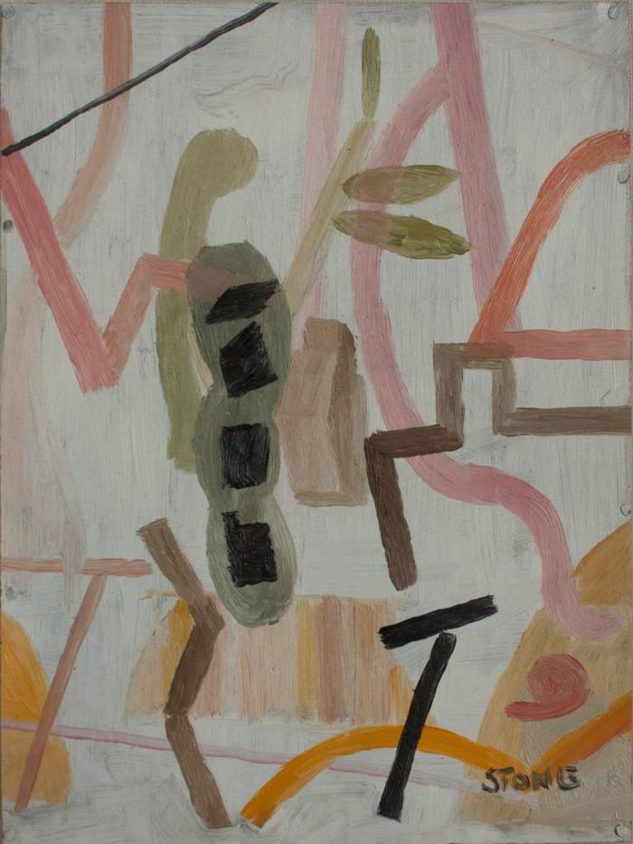 Simon Stone | Pink Stripe | 2014 | Oil on Cardboard | 28 x 21.5 cm