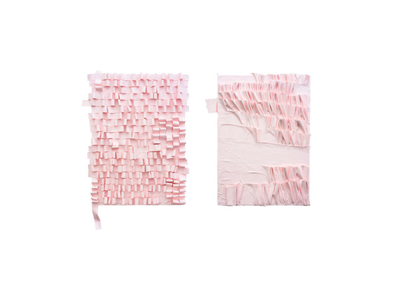 Gabrielle Kruger   Ribboned Painting & Pleated Painting II   2019   Acrylic on Board   65 x 50 cm (each)