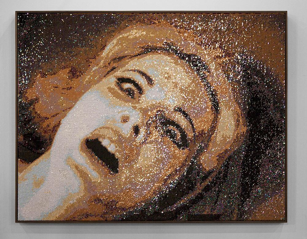 Frances Goodman   The Victim   2016   Hand-Stitched Sequins on Linen   120.5 x 155.5 cm