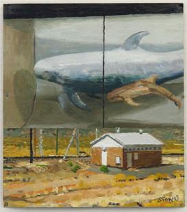 Simon Stone   Volt House + Whale   2014   Oil on Cardboard   29 x 25.5 cm