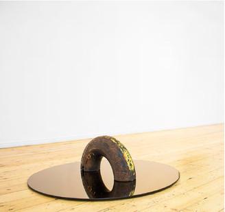 Ruann Coleman | Loop | 2016 | Found Pipe and Bronze Tinted Mirror | 100 cm Diameter