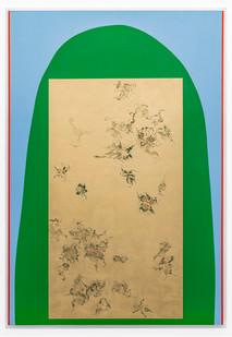 Pierre Vermeulen | Hair orchid sweat print, green blue vermilion | 2019 | Sweat, Gold Leaf Imitate, Shellac and Acrylic on Belgian Linen | 193 x 132.5 cm