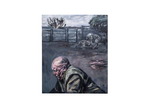 Johann Louw   Agtertuin, met die Groot Man   2020   Oil on Canvas   175 x 209 cm