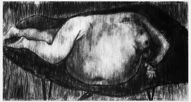 Johann Louw |  Liggaam II | 2014 | Charcoal on Paper | 125 x 222 cm