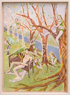 Marlene Steyn   The stalker sister wood   2018   Oil on Canvas Board   35.5 x 25.5 cm