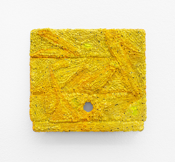 Galia Gluckman | the meaning of yellow | 2020 | Construction with Canvas Textured Paper, Acrylic, Bonding Tape on Box | 20.5 x 22.5 cm