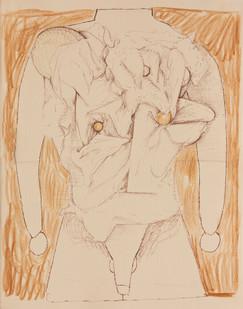 Simon English | Lay Torso or Apple Nipples | 2013 | Mixed Media on Paper | 36.5 x 28 cm