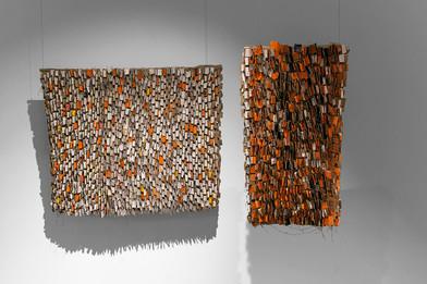 Wallen Mapondera | Clarifications (Diptych) | 2017 | Cardboard and Canvas | 120 x 70 cm & 146 x 120 cm