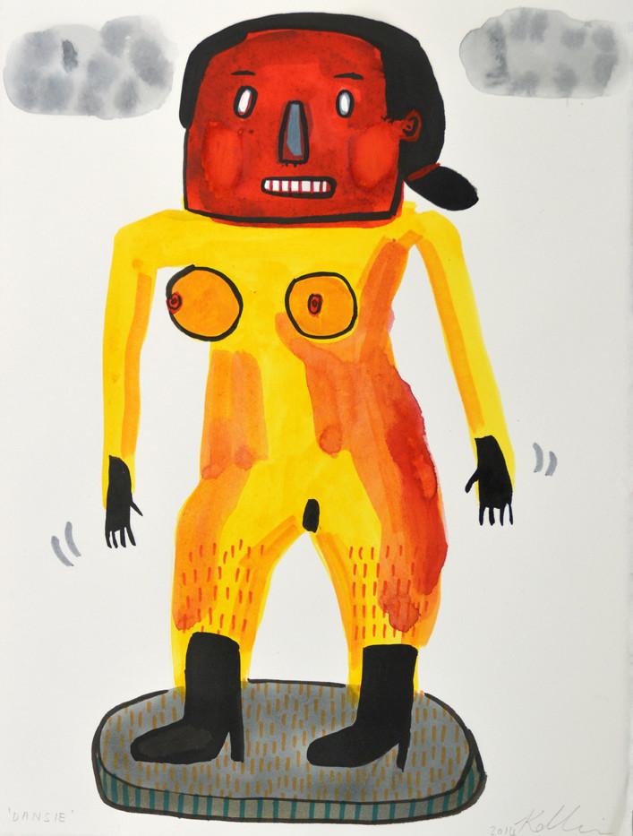Karlien De Villiers | Dansie | 2014 | Ink and Watercolour on Paper | 38.5 x 28.5 cm