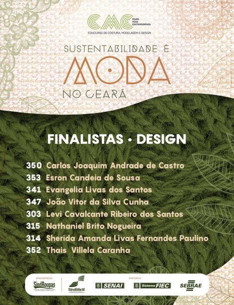 Resultado dos trabalhos selecionados na Categoria Design do Concurso CMC 2019.
