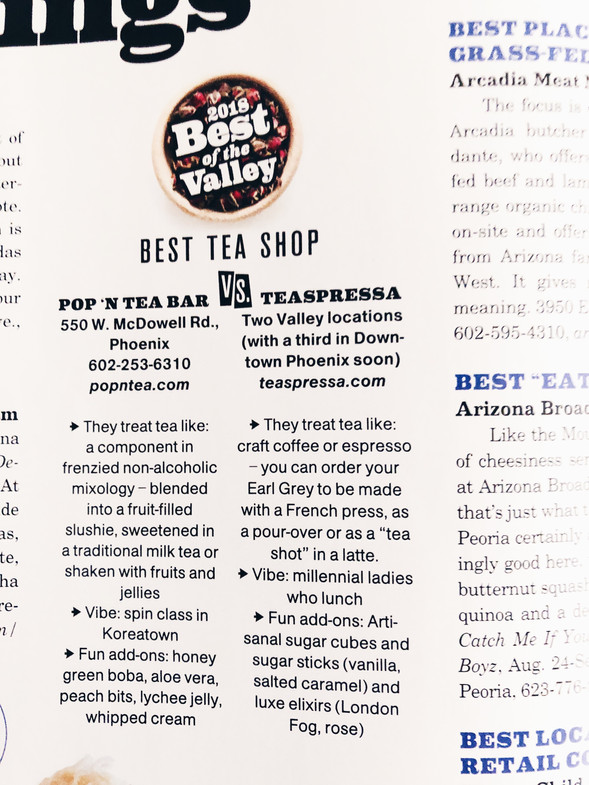 "Voted ""Best Tea of the Valley"" - Phoenix Magazine"
