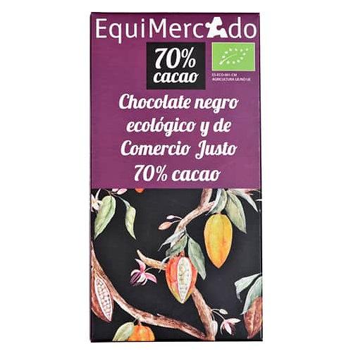 Tableta Chocolate negro 70%Cacao 80g EquiMercado