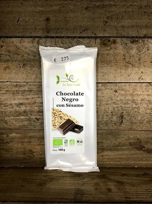 Tableta Chocolate Negro con Sésamo 100g LZV