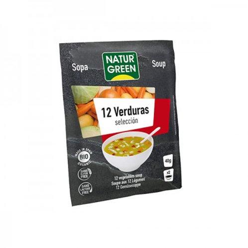 Sopa Ecológica Selección De 12 Verduras 40 G. NaturGreen.