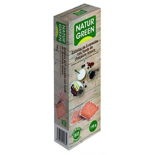 Ecogalleta 5 cereales Fondo Chocolate Blanco Naturgreen