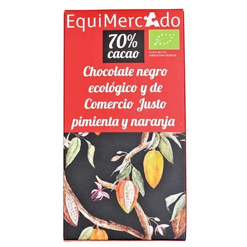 Tableta Chocolate negro 70% con Pimienta y Naranja 80g EquiMercado