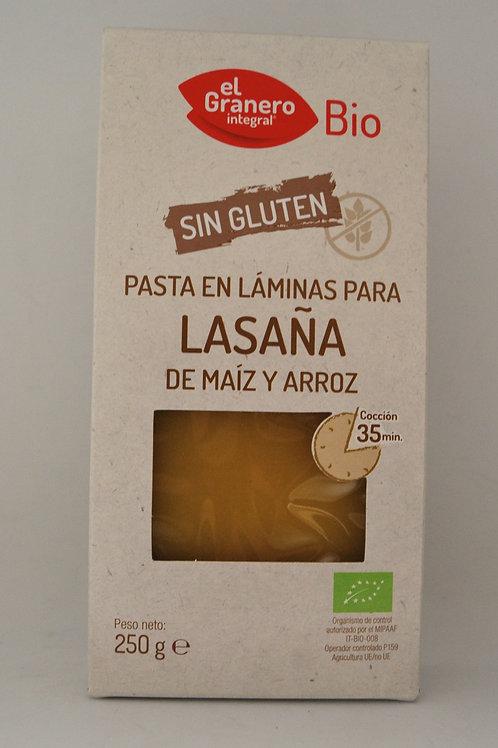 Pasta en láminas para lasaña de maíz y arroz - El Granero - 250g
