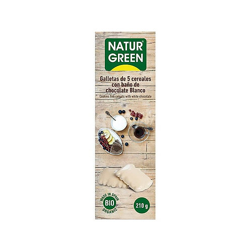 Ecogalleta 5 cereales Baño chocolate blanco - Naturgreen - 210 gr