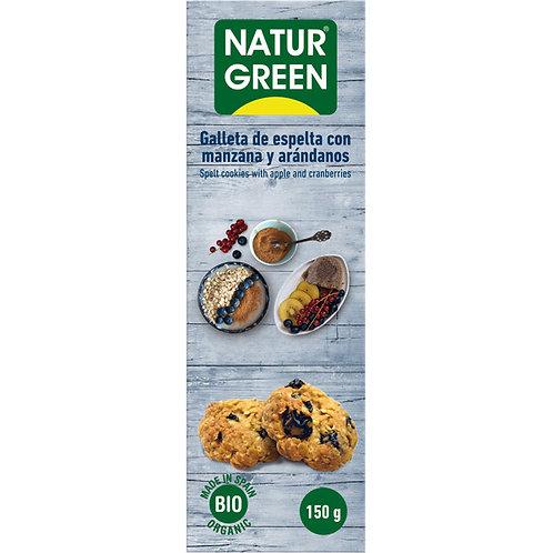 Ecogalleta Manzana con Arándanos Sin Azúcar - Naturgreen -  150 gr