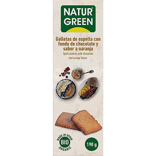 Ecogalleta choconaranja espelta fondo chocolate Naturgreen