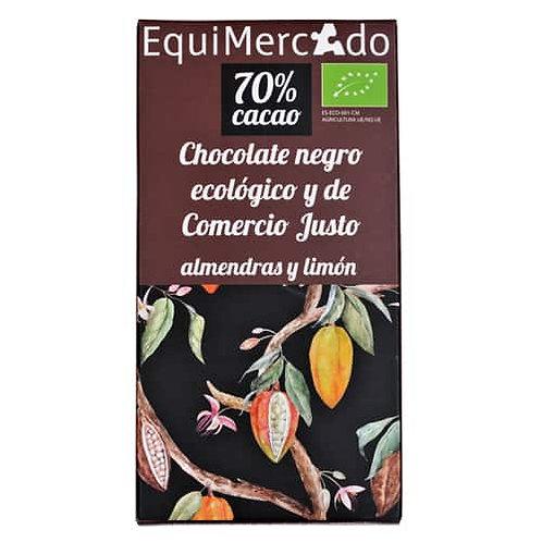 Tableta Chocolate negro 70% con Almendras y Limón 80g EquiMercado