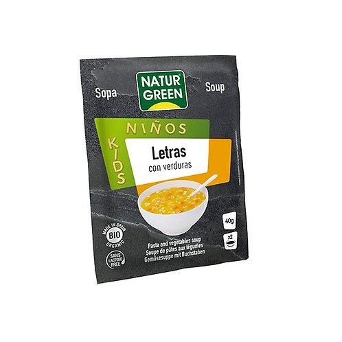 Sopa Letras con Verduras Bio 40g Naturgreen