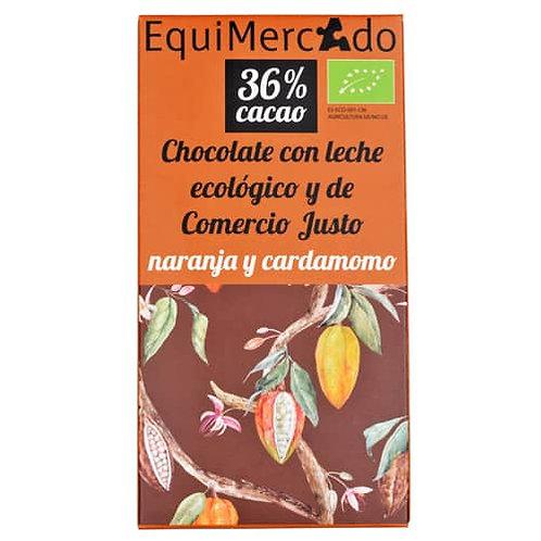 Chocolate con leche 36% con Naranja y Cardamomo 80g Equimercado