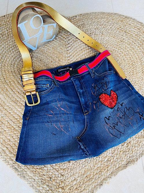 Denim Handbag with Hearts