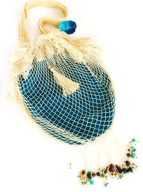 Turquoise Beads Fishing Net Handbag