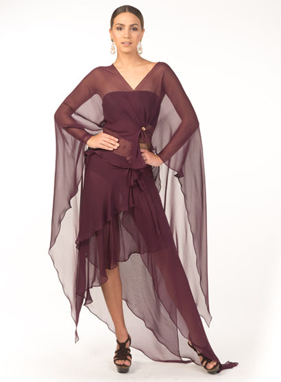 Blouse and skirt in silk chiffon