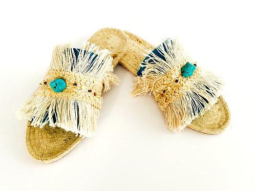 Natural Fringe & Turquoise Bead Sandal Slides