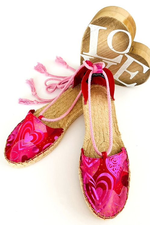 Pink Heart Espadrilles with Ankle Ties