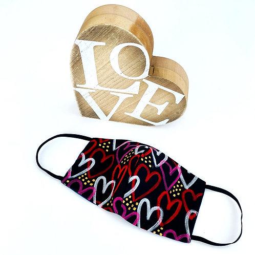 Graffiti Heart Print Reversible Face Mask