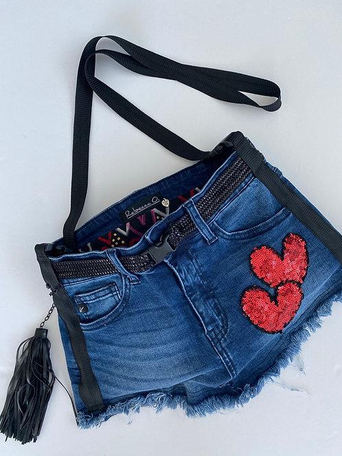 High Rise Denim Handbag with 3 Sequin Hearts