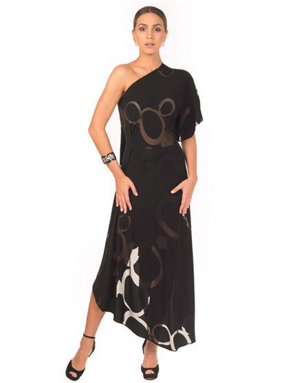 Black jersey asymmetric long dress